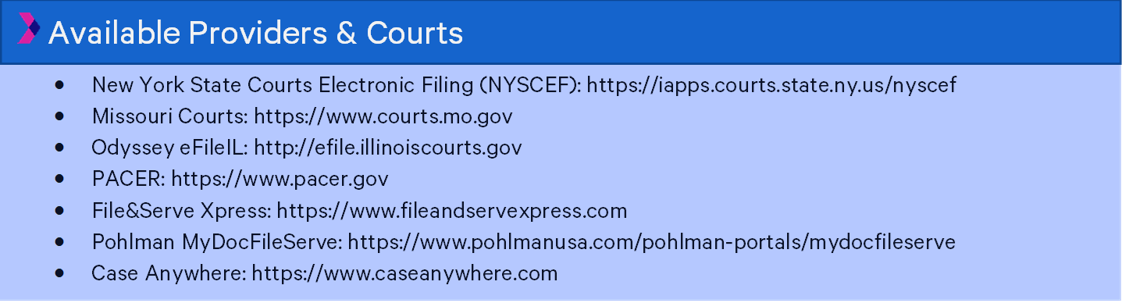 available providers and courts list